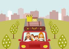 Beautiful cartoon family: young man, woman, son and daughter are going to vacation. Mom is driving a red car vector illustration