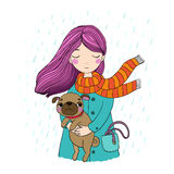 Beautiful cartoon girl and pug. Royalty Free Stock Images