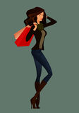 Beautiful cartoon girl  shopping Royalty Free Stock Image