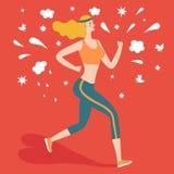 Beautiful cartoon girll runner Royalty Free Stock Image
