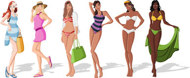 Beautiful cartoon girls Royalty Free Stock Photography