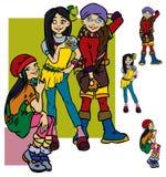 Beautiful cartoon girls. Beautiful fashion cartoon girls.Vector illustration vector illustration