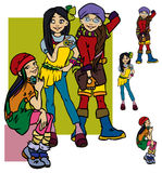 Beautiful cartoon girls. Beautiful fashion cartoon girls.Vector illustration Stock Photography