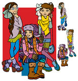 Beautiful cartoon girls. Beautiful fashion cartoon girls.Vector illustration Royalty Free Stock Images
