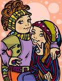 Beautiful cartoon girls. Beautiful fashion cartoon girls.Vector illustration Royalty Free Stock Photo