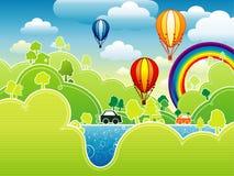 Beautiful cartoon landscape Stock Photo