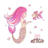 Beautiful cartoon little Mermaid with fish Stock Image