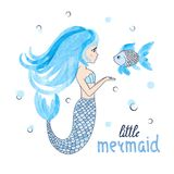 Beautiful cartoon little Mermaid with fish. Vector illustration Royalty Free Stock Images