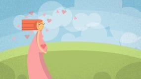 Beautiful Cartoon Pregnant Woman New Life. Vector Illustration royalty free illustration