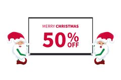 Promotional discount card with little elves of santa claus with a tv vector illustration