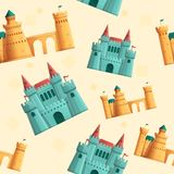 Beautiful cartoon seamless pattern on the theme of castles royalty free illustration