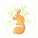 Beautiful cartoon squirrel Royalty Free Stock Images