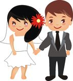 Beautiful cartoon wedding couple. Beautiful romantic cartoon wedding couple Royalty Free Stock Photos