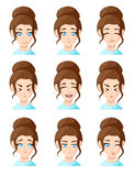 Beautiful cartoon woman faces showing different emotions woman emotion emoji icon set for interiors Flat design style  illus Royalty Free Stock Photography