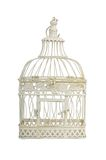 Beautiful carved cage with birds isolated Royalty Free Stock Photo
