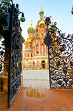 Beautiful carved gates  and Saviour on Spilled Blood Stock Photography