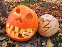 Orange halloween pumpkins Stock Image