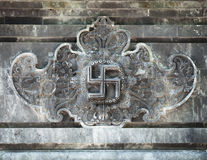 Beautiful, Carved Relief inside Goa Lawah Temple in Bali, Indone Stock Image
