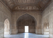 Beautiful carved room inside the palace at the Red Fort. India Stock Photos