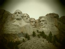 The famous Mt.Rushmore. Beautiful carved sculptures of four reknown past US Presidents. This National memorial is in the Black Hills of Keystone, South Dakota Stock Photography