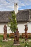 Beautiful carved sculptures in hungarian village Tihany Stock Images