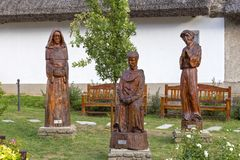 Beautiful carved sculptures in hungarian village Tihany Royalty Free Stock Photo