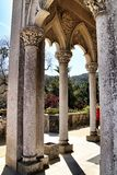 Carved stone arcades and columns of Monserrate palace in Sintra. Beautiful carved stone arcades and columns of Monserrate palace in Sintra, Lisbon, Portugal stock photo