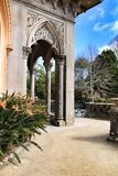 Carved stone arcades and columns of Monserrate palace in Sintra. Beautiful carved stone arcades and columns of Monserrate palace in Sintra, Lisbon, Portugal stock photos