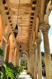 Carved stone arcades and columns of Monserrate palace in Sintra. Beautiful carved stone arcades and columns of Monserrate palace in Sintra, Lisbon, Portugal stock image