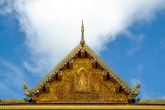 A beautiful carving roof at an entrance of Thai temple Royalty Free Stock Images