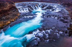 Beautiful cascade bruarfoss waterfall, Iceland Stock Photo