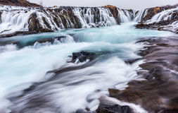 Beautiful cascade bruarfoss waterfall in Iceland Royalty Free Stock Photography