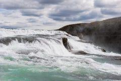 Beautiful cascade of Gullfoss or Golden waterfall, Iceland Royalty Free Stock Photos