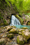 Beautiful cascade in Transylvania, Romania, Western Carpathian limestone mountains Stock Images