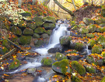 Beautiful cascade waterfall in autumn forest Royalty Free Stock Photography