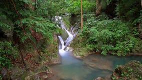 Beautiful cascade waterfall with natural rocks at Erawan Royalty Free Stock Photography