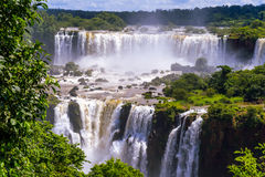 Beautiful cascade of waterfalls. Iguassu falls in Brazil Stock Photo