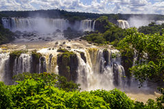Beautiful cascade of waterfalls. Iguassu falls in Brazil with ri Royalty Free Stock Photography