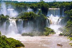 Beautiful cascade of waterfalls. Iguassu falls in Brazil with ri Stock Images