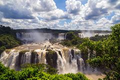 Beautiful cascade of waterfalls. Iguassu falls in Brazil with ri Stock Image