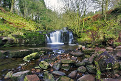 Beautiful cascades, Afon Caerfanell mountain river, Blaen-y-Glyn Royalty Free Stock Photo