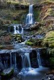 Beautiful cascading waterfall, Nant Bwrefwy, Upper Blaen-y-Glyn. Brecon Beacons, South Wales royalty free stock photos