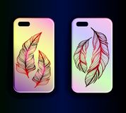 Cases with art print feathers on a gradient background Royalty Free Stock Images