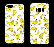 Beautiful cases for smartphones with bananas. Print for lining the phone. Ready design. Vector illustration. Summer drawings. Royalty Free Stock Photo