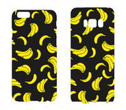 Beautiful cases for smartphones with bananas. Print for lining the phone. Ready design. Vector illustration. Summer drawings. Stock Photography