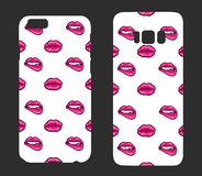 Beautiful cases for smartphones with female accessories.Bright lips. Print for lining the phone. Ready design. Vector illustration Stock Photos