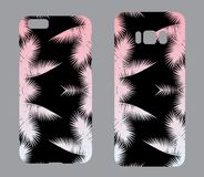 Beautiful cases for smartphones with ornaments of palm fronds. Print for lining the phone. Ready design. Vector illustration. Dood Royalty Free Stock Images
