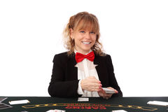 Beautiful casino dealer Royalty Free Stock Images