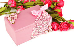 Beautiful casket with flowers on white background Stock Photo