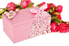 Beautiful casket with flowers on white background. Stock Images